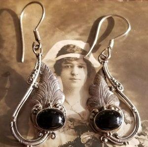Vintage Sterling Silver earrings black cabochons